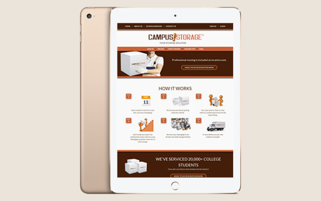 campus storage website on mobile